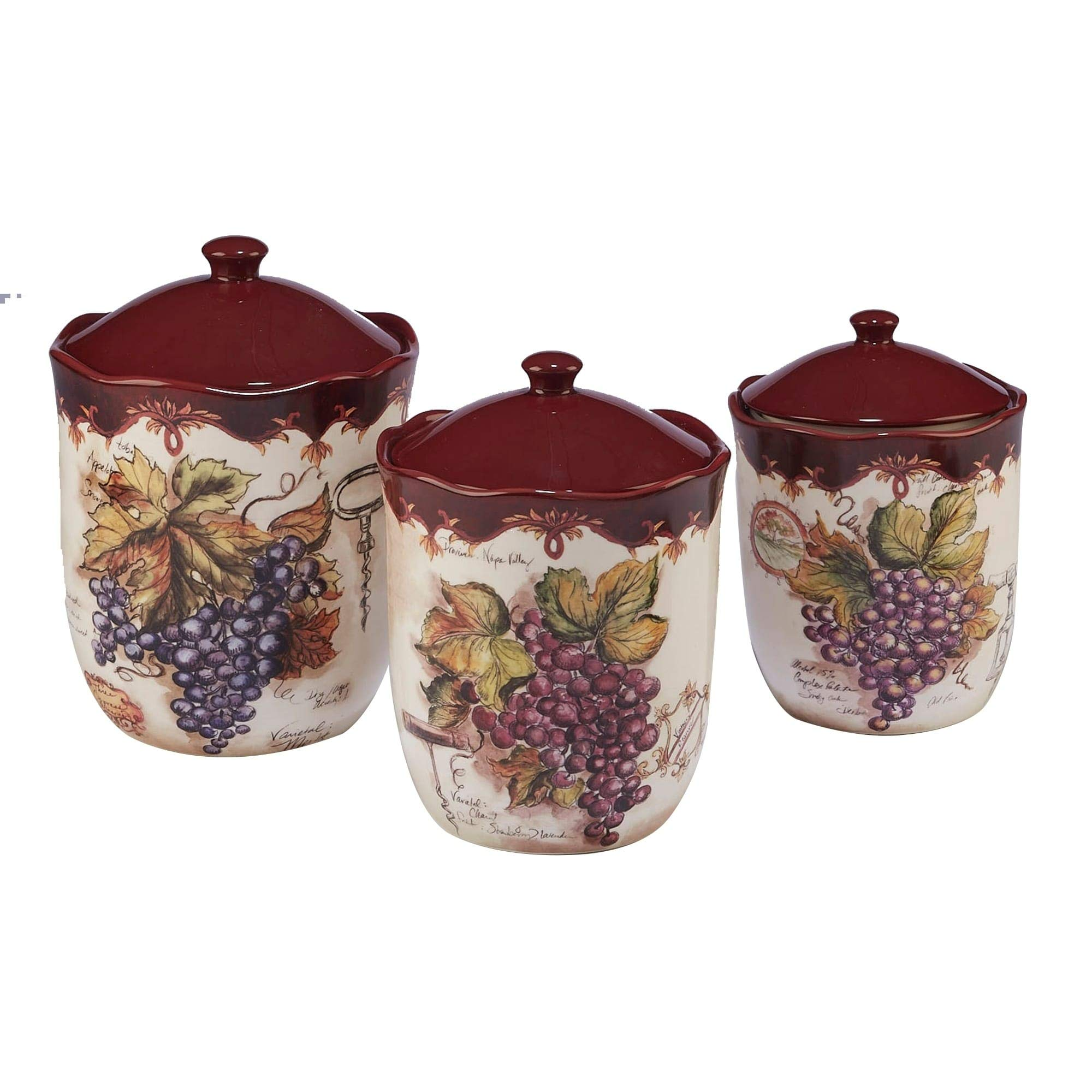 Certified International Corp 23740 Vintners Journal 3 piece Canister Set Multicolor