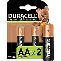 Duracell Şarj Edilebilir AA 2500mAh Piller, 2'li paket
