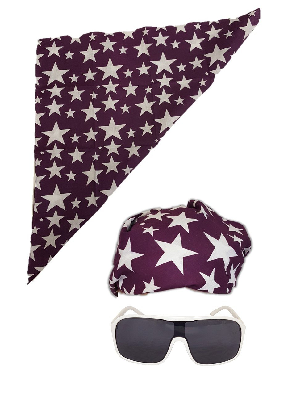 Colored Stars Bandana White Sunglasses for Macho Man Costume-Purple