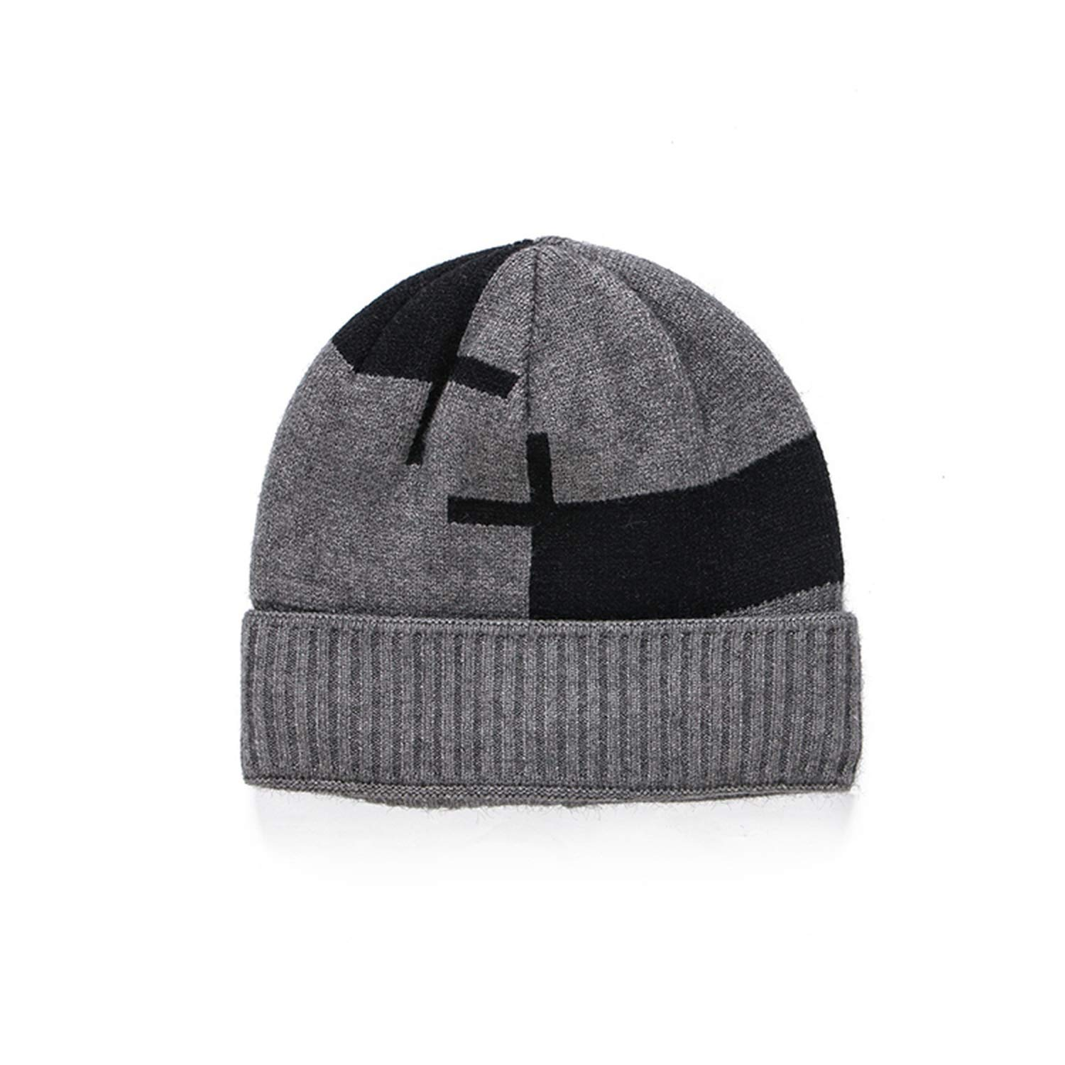 Brand Black Grey Navy Plaid Mens Plus Velvet Thick Warm Knitted Hat Beanies Male