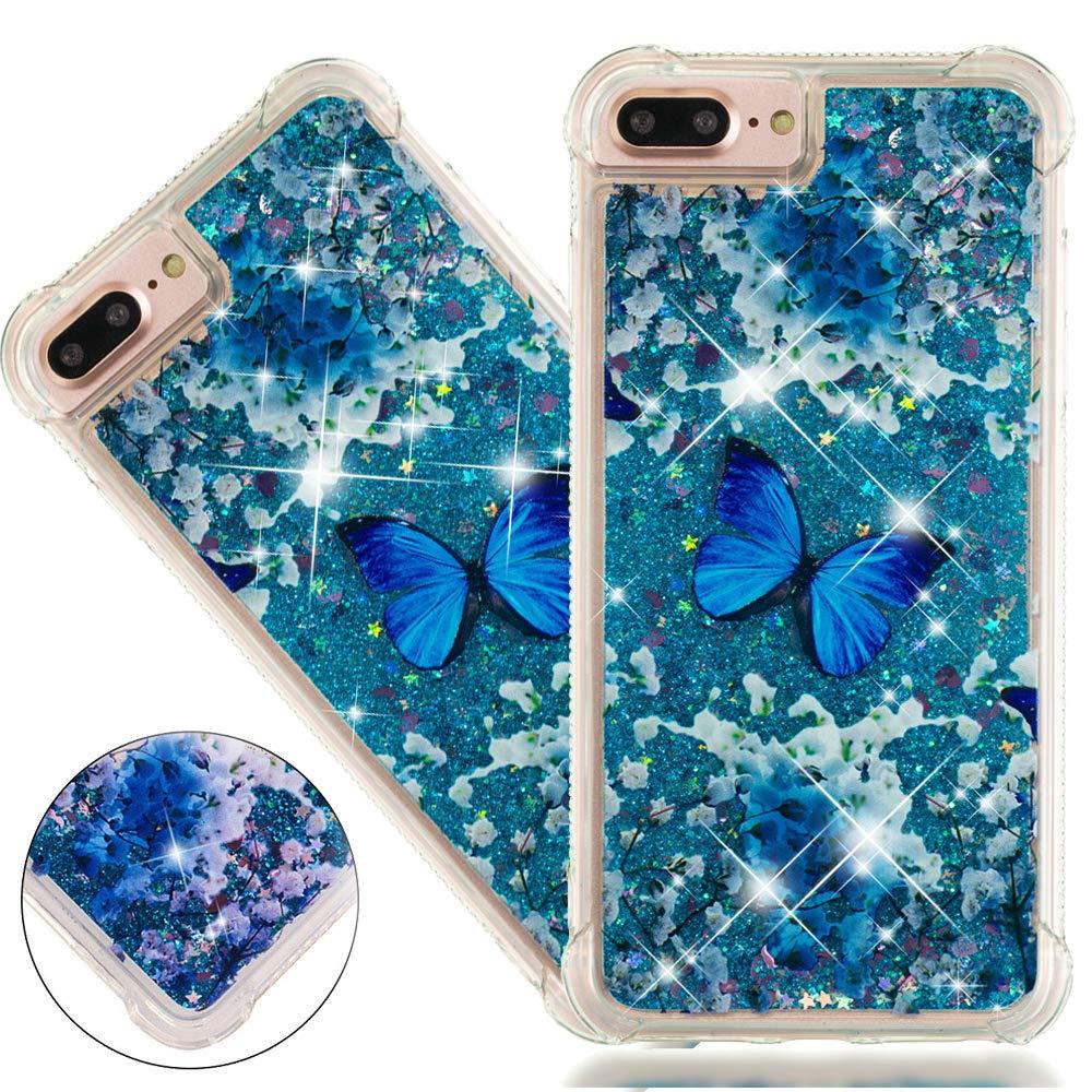 ISADENSER iPhone 6 PlusケースiPhone 6s PlusケースクリアソフトTPUキラキラ空気でスタイリッシュな厚手のコーナー3DハートQuicksand Shiny流れる液体保護カバーfor iPhone 6 / 6S Plusブルーバタフライ   B07JLBFP34