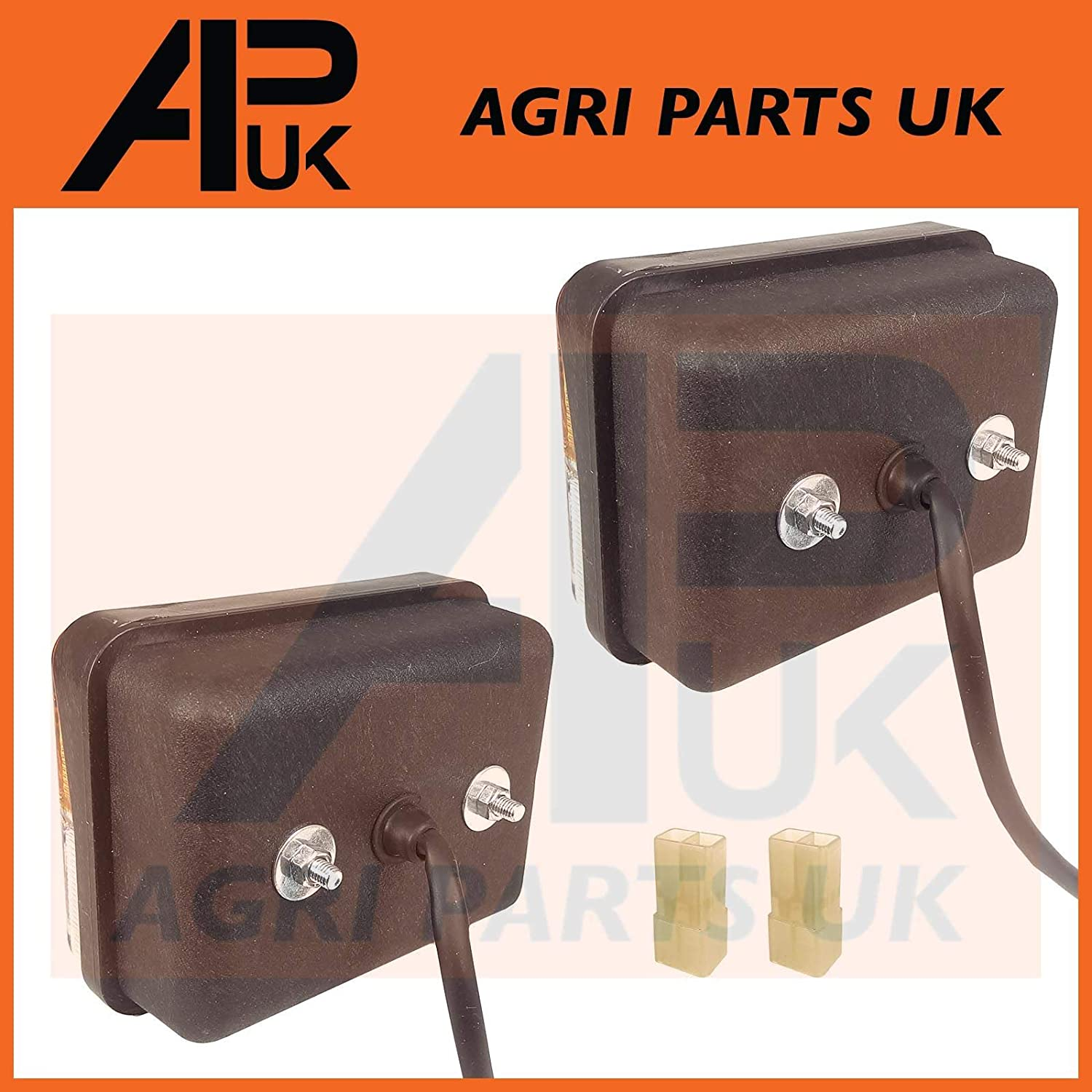 APUK PAIR of Front Side Light Lamp Indicator Compatible with Massey Ferguson 240 265 290 590 595 Tractor