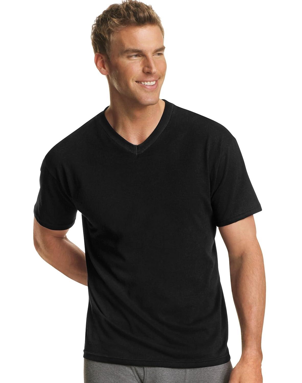 Amazon.com: Hanes Men`s Dyed ComfortSoft® TAGLESS® V-Neck Undershirt,7765AS,L,Black: Clothing