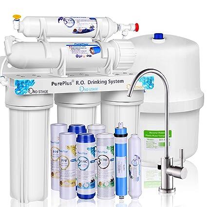 Fácil instalación pureplus 5-Stage Ultra fuerte, sistema de filtro de agua de ósmosis inversa RO ...