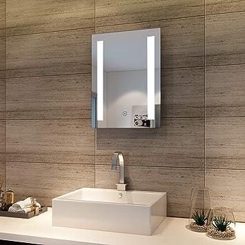 Spiegel Led Beleuchtung | Badspiegel 50x70cm Spiegel Eckig Mit Energiesparender Led