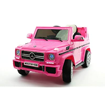 Mercedes Benz AMG G55 12V Kids Electric Ride On Car, Battery Power Motorized SUV, Remote Control, Suspension,Lights, AUX in, Music, Larger Size, Pink: Toys & Games