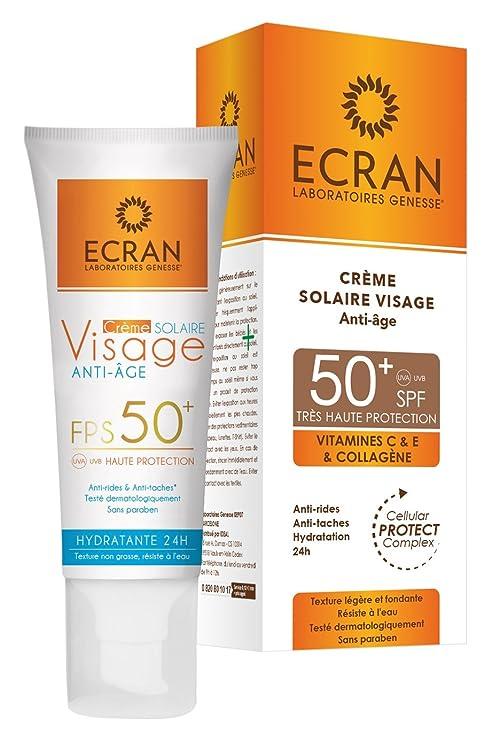 Ecran Crème Solaire Visage Anti-âge SPF 50+ 50 ml - Lot de 2  Amazon ... a86f121e883
