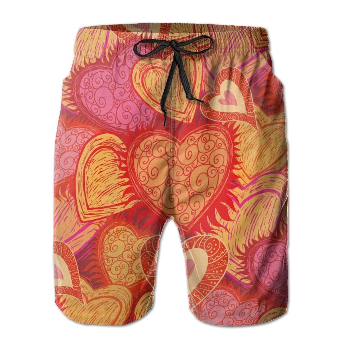 Love Hearts Flower Comfort Men /& Boys Big /& Tall Cargo Short Board Shorts for Beach Outdoor Workout