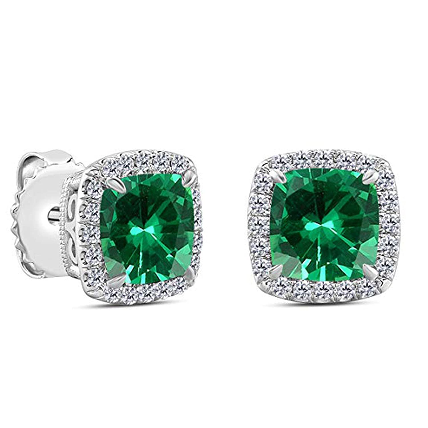 Party Wear Jewellery Suhana Jewellery Stud Earrings Collections 14K White Gold Fn Green CZ for Girls Womens Daily