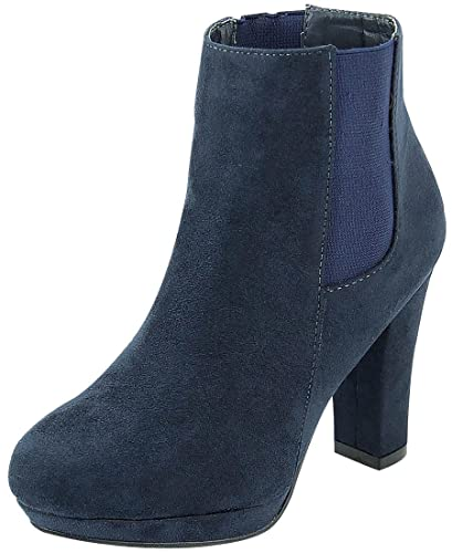 c689012c3412 Anna Shoes Women s Stacked Chunky Platform Heel Ankle Bootie (6 B(M) US