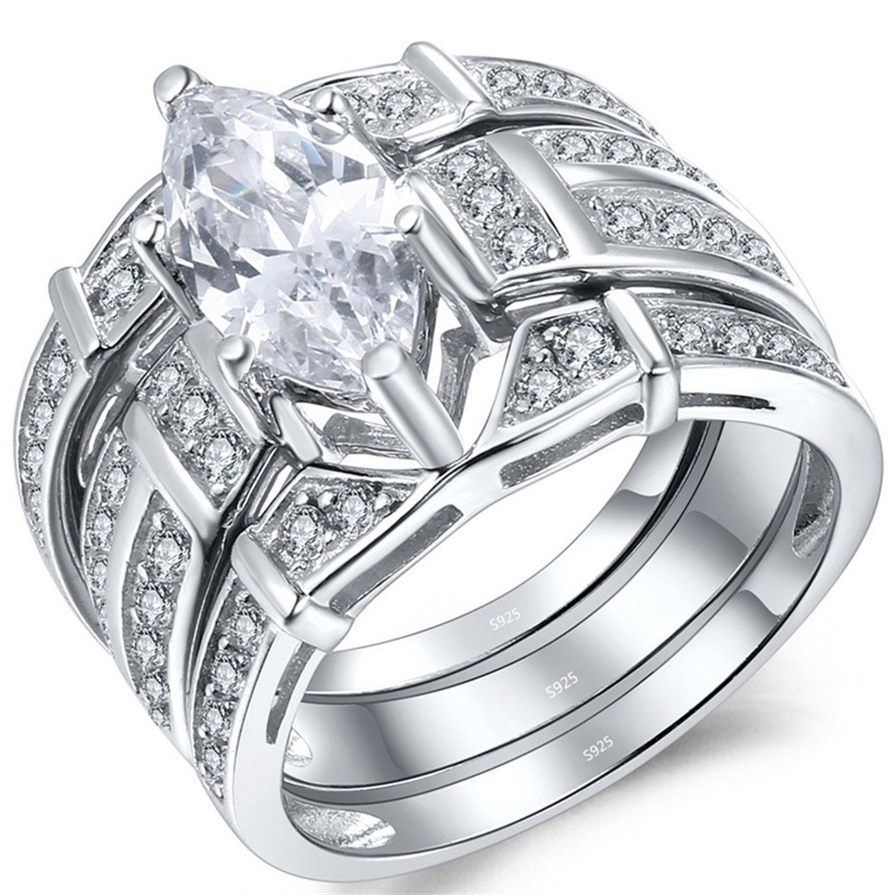 MABELLA Trio Sterling Silver Cubic Zirconia CZ Marquise Wedding Ring Set for Women by MABELLA (Image #2)