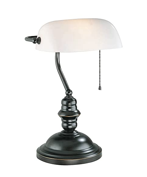 Lite Source LS-224D/BRZ Banker's Lamp, Dark Bronze with Frost ...