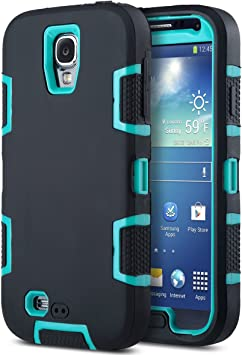 ULAK S4 Caso, Galaxy S4 Funda, 3in1 Combo Hybrid Hard Rigid PC + Funda Protectora a Prueba de Golpes de Silicona Suave para Galaxy S4 IV i9500 (Azul + Negro): Amazon.es: Electrónica