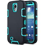 Galaxy S4 Case, S4 Case-ULAK 3in1 Shock-Absorption Hybrid Impact Rubber Combo [Rigid Plastic + Soft Silicone] Protective Case Cover for Samsung Galaxy S4 IV i9500 (Aqua Blue+Black)