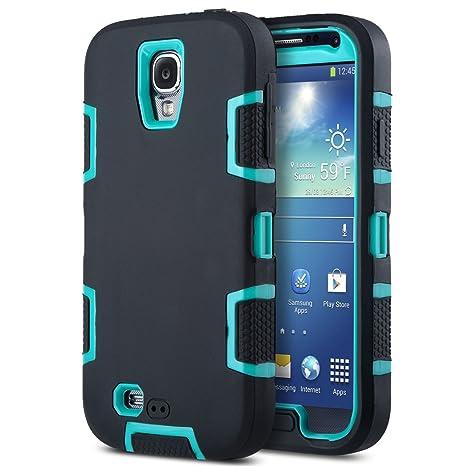 Carcasa ULAK híbrida resistente para Samsung Galaxy S4 i9505 i9500 con protector de pantalla (Azul + Negro)