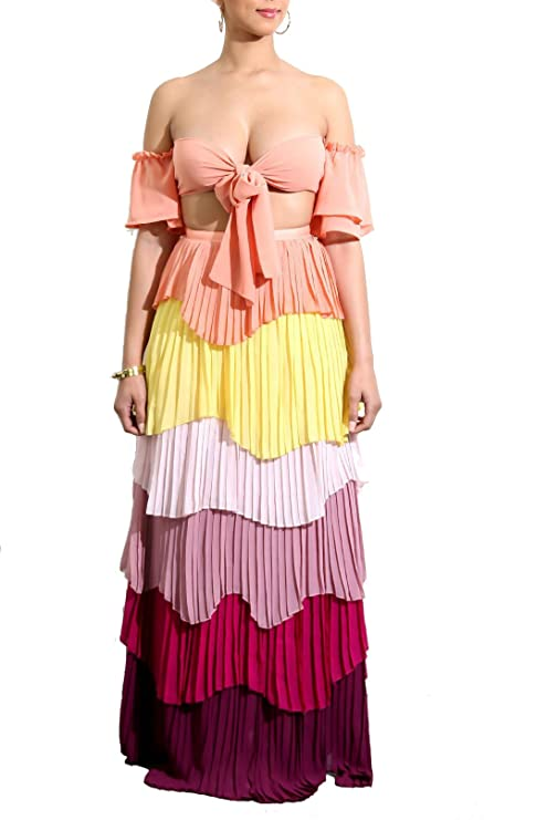678f2fe9c76d4 Adogirl Womens Sexy 2 Piece Outfit Crop Tube Top Layer Ruffle Maxi Dress