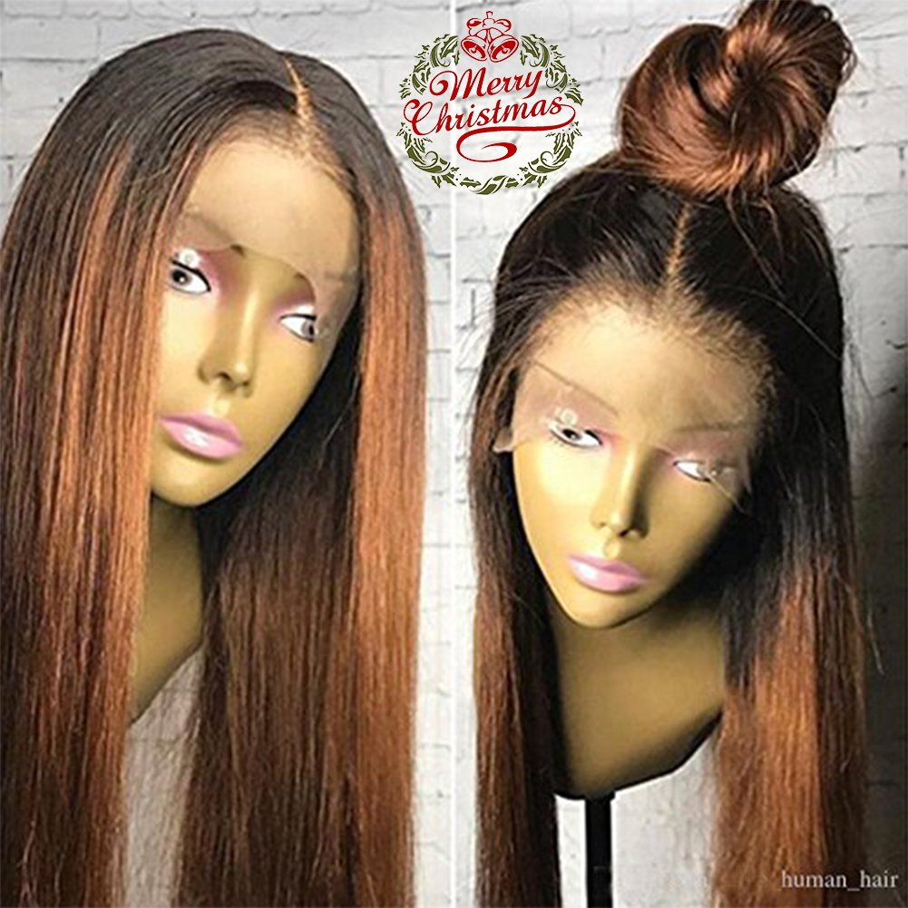 Human Hair Straight full lace wig 100% Real Brazilian Hair Ombre Black Roots 1B 30 Color 130% Density Wig For Black Women (20'', lace frontal wig)