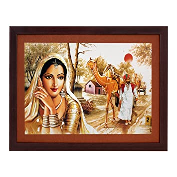Art N Hub Rajasthani Village Textured With Acrylic Glass Painting Abstract Modern Art Home Wall Decor Hangings Gift Items Amazon In Home Kitchen