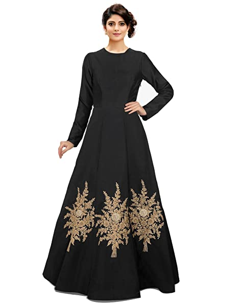 766cc3a87 Siddeshwary Fab Women's Silk Cotton Embroidered Gown (Black_Free Size)