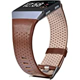 For Fitbit Ionic Bands Perforated Leather Accessory Band Strap Replacement Wristband for Fitbit Ionic Women Men By CAGOS (Large, Dark Brown)