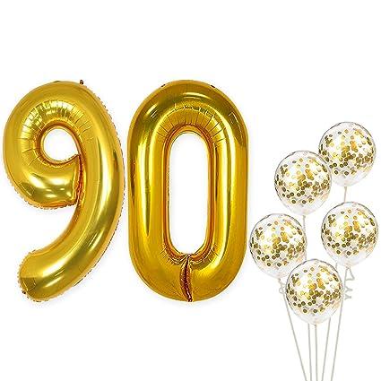 Amazon.com: Globos de confeti número 90 y oro – grandes, 40 ...