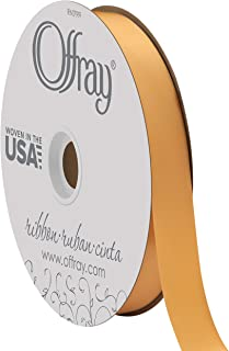 "product image for Berwick Offray 7/8"" Wide Double Face Satin Ribbon, Golden Ale Yellow, 100 Yards"