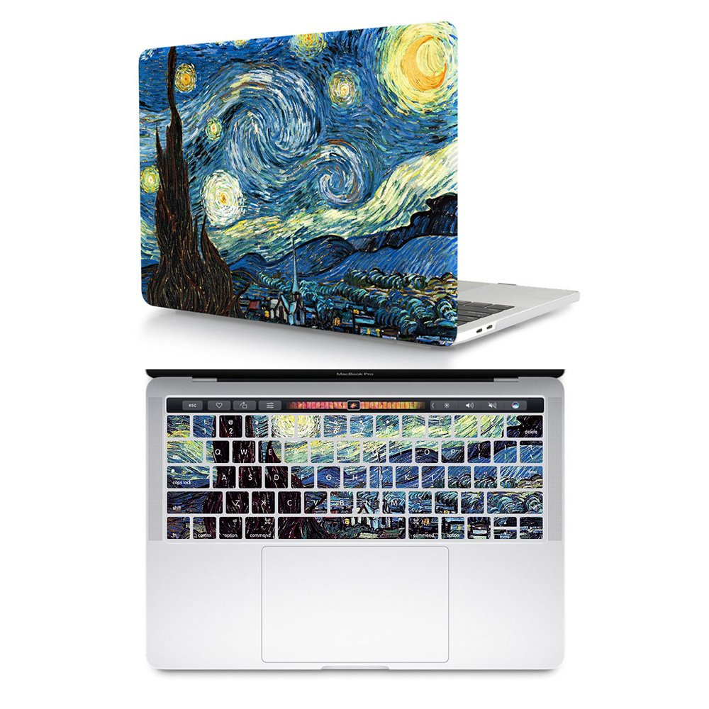 reputable site 852fb 3001c HRH 2 in 1 Starry Night MacBook New Pro 13 PC Hard Case Cover and Silicone  Keyboard Cover for MacBook New Pro 13 with Touch bar A1706 A1989(2018 2017  ...