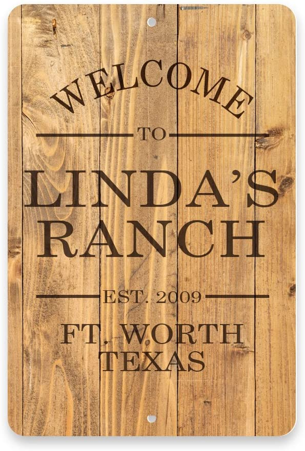 Pattern Pop Personalized Rustic Wood Plank Welcome to The Ranch Metal Room Sign