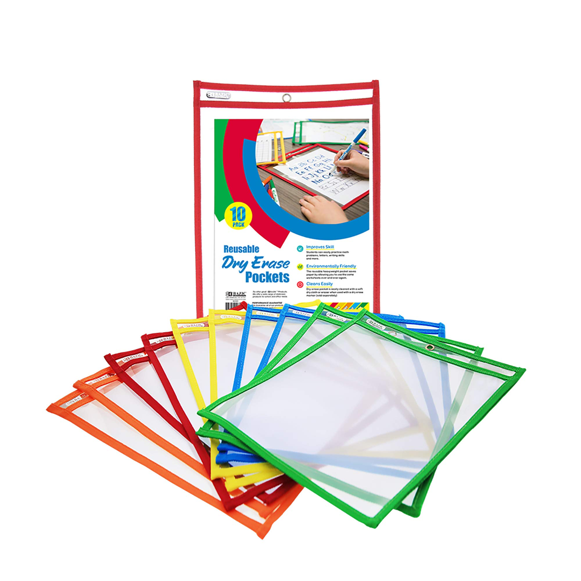 BAZIC Reusable Dry Erase Pockets (10/Pack) (Case of 6) by B BAZIC PRODUCTS