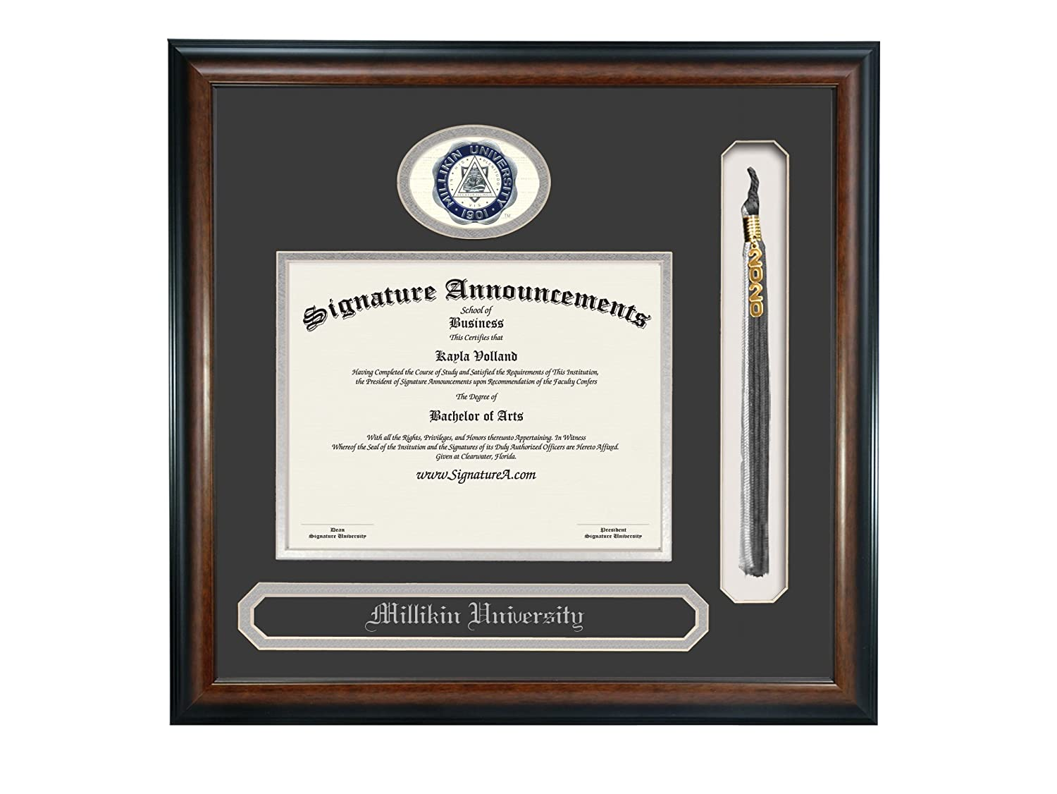 Name /& Tassel Graduation Diploma Frame 16 x 16 Matte Mahogany Sculpted Foil Seal Signature Announcements Millikin University Undergraduate