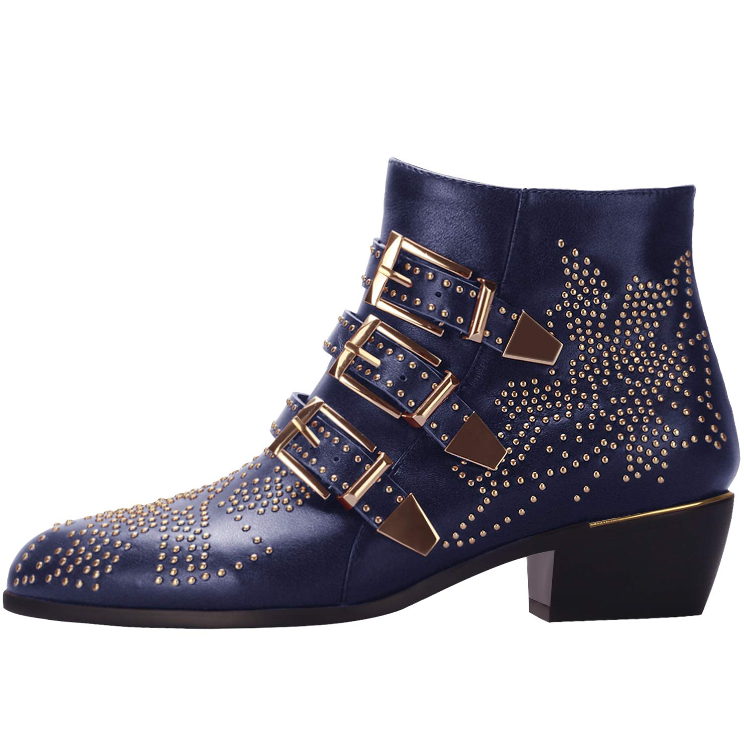 15420214 Comfity Boots for Women, Women's Leather Boot Rivets Studded Shoes ...