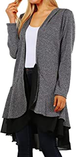 product image for Funfash Women Plus Size Cardigan Gray Black Lace Layered Sweater Made in USA