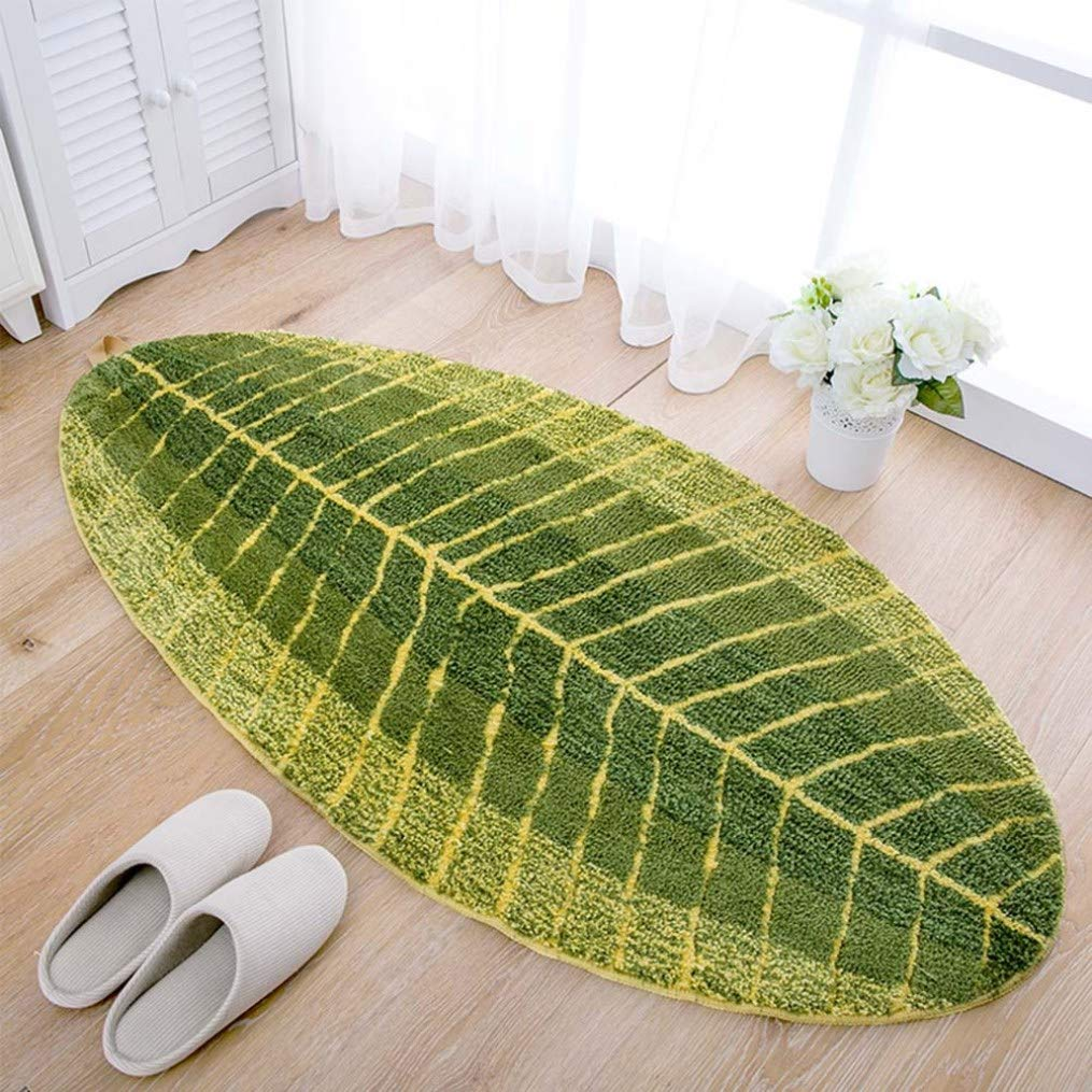 Null OneSize Kitchen Rugs Leaf Shape Area Rugs for Kitchen Floor Kids Room Bathroom Bedroom Playroom Mats