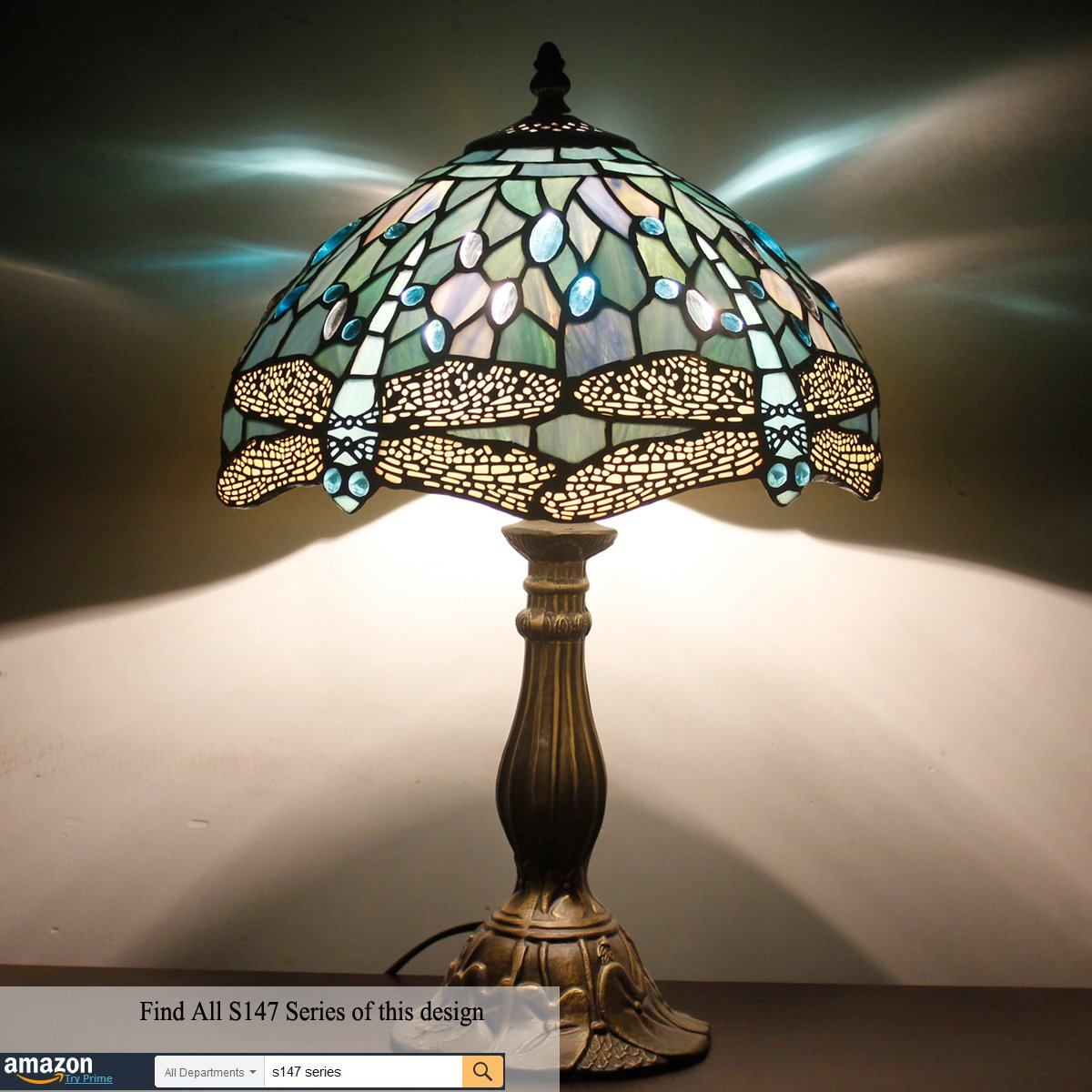Tiffany Lamp With Sea Blue Stained Glass and Crystal Bead Dragonfly Table Lamp In Height 18 Inch For Living Room by WERFACTORY (Image #3)