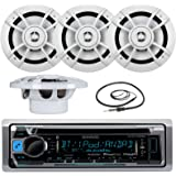 "Great New KMR-D365BT Kenwood Marine Boat Yacht Outdoor Bluetooth Stereo CD MP3 Player USB iPod iPhone Pandora AM/FM Reciver, 4 X Kenwood 6.5"" Inch Waterproof Speakers Enrock Antenna - Marine Audio Kit"
