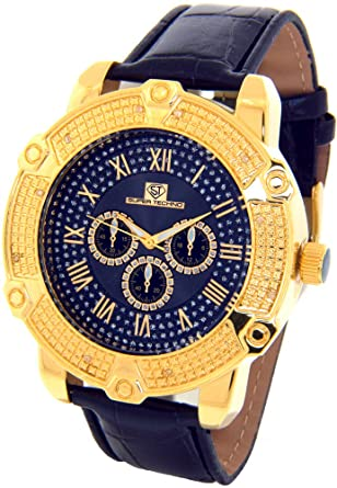 amazon com super techno diamond watch mens genuine diamond watch super techno diamond watch mens genuine diamond watch oversized gold case leather band w 2