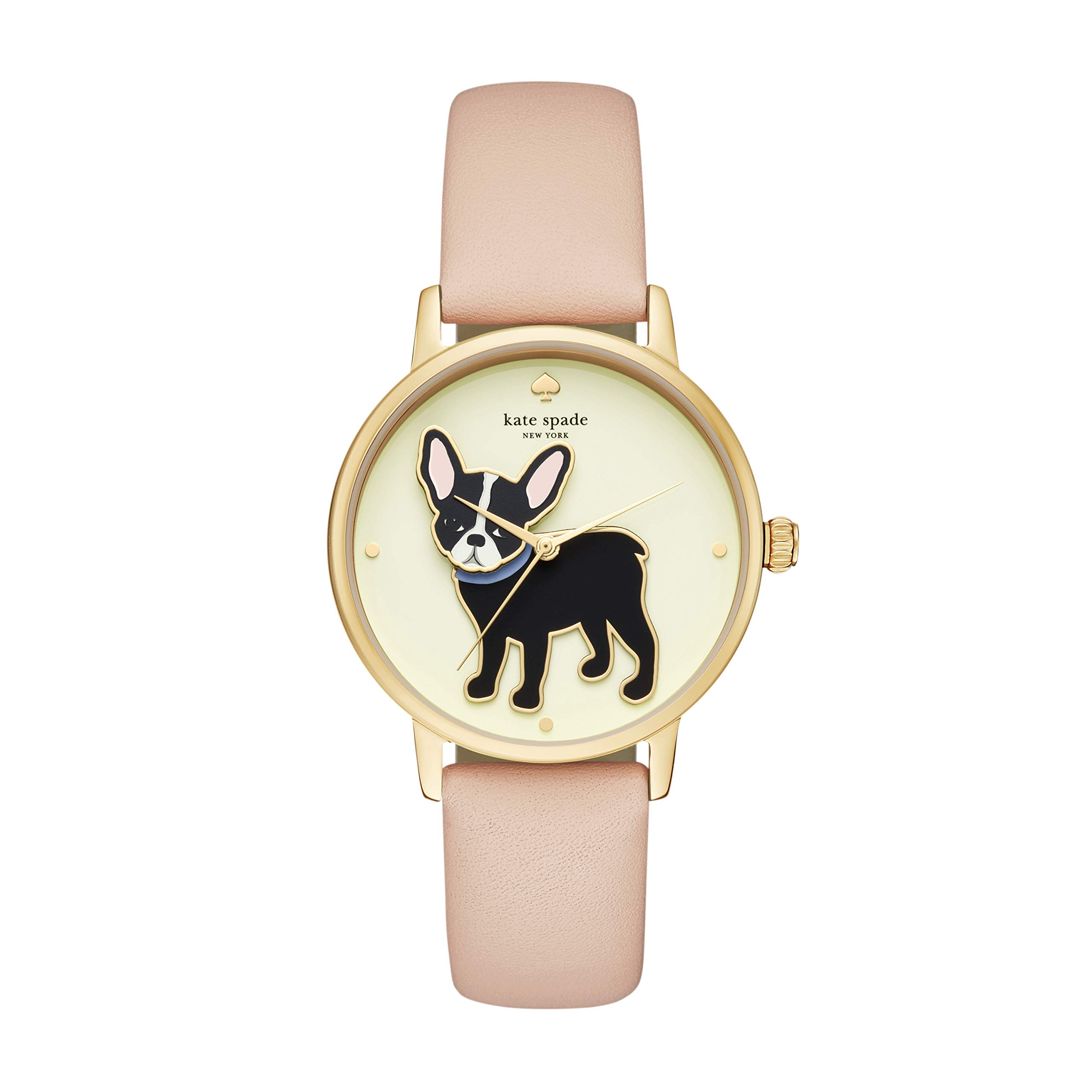 kate spade new york Women's 'Grand Metro' Quartz Stainless Steel and Leather Casual Watch, Color:Beige Band,Gold Dial(Model: KSW1345)