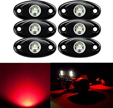 Red Amak 2 Pods LED Rock Lights Kit Red Underbody Glow Trail Rig Light Waterproof Underglow LED Neon Lights for JEEP Off Road Trucks Car ATV SUV Vehicle Boat