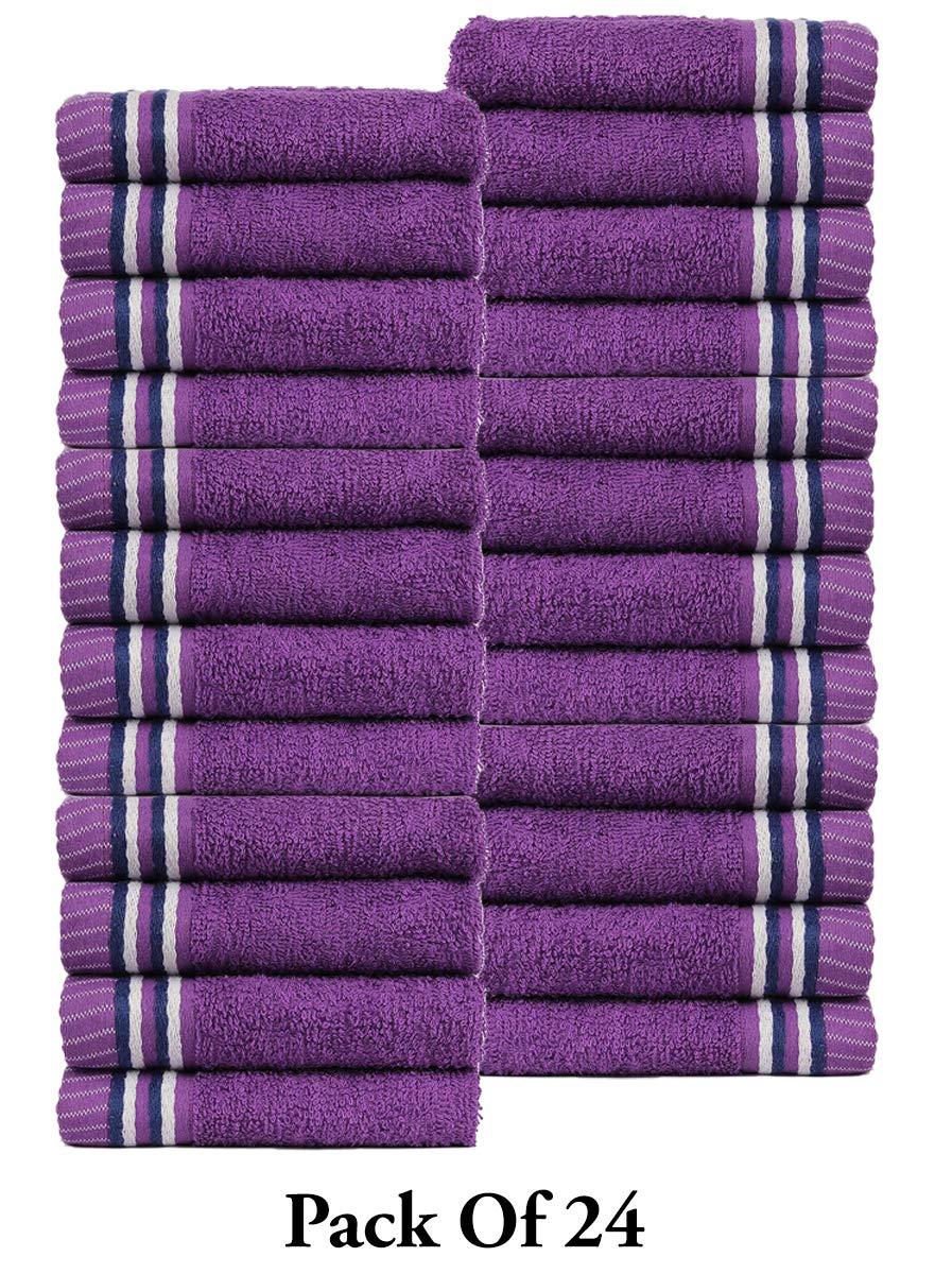 CASA COPENHAGEN Trident Premium Candy Stripes 400 GSM Super Soft 4 Pack Baby Wash Cloth Burp Towels, Purple by CASA COPENHAGEN