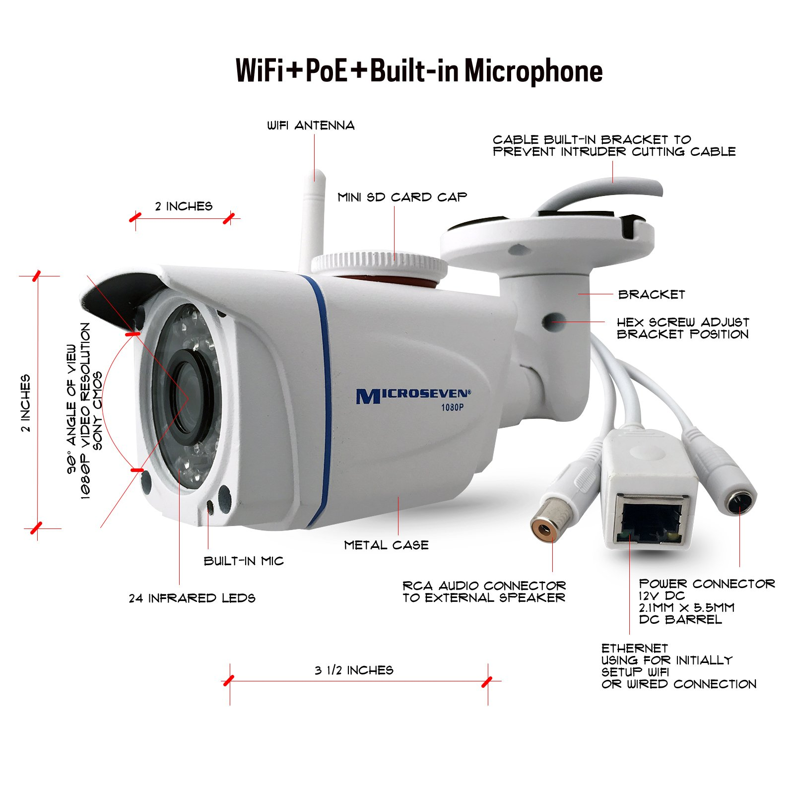 """Microseven HD Works with Alexa, Free 24Hr Cloud, Build-in Microphone 1080P WiFi +POE Outdoor IP Camera, SONY 1/2.8"""" CMOS 3MP Wide Angle, ONVIF Day & Night 128GB SD Slot Live Streaming on microseven.tv"""
