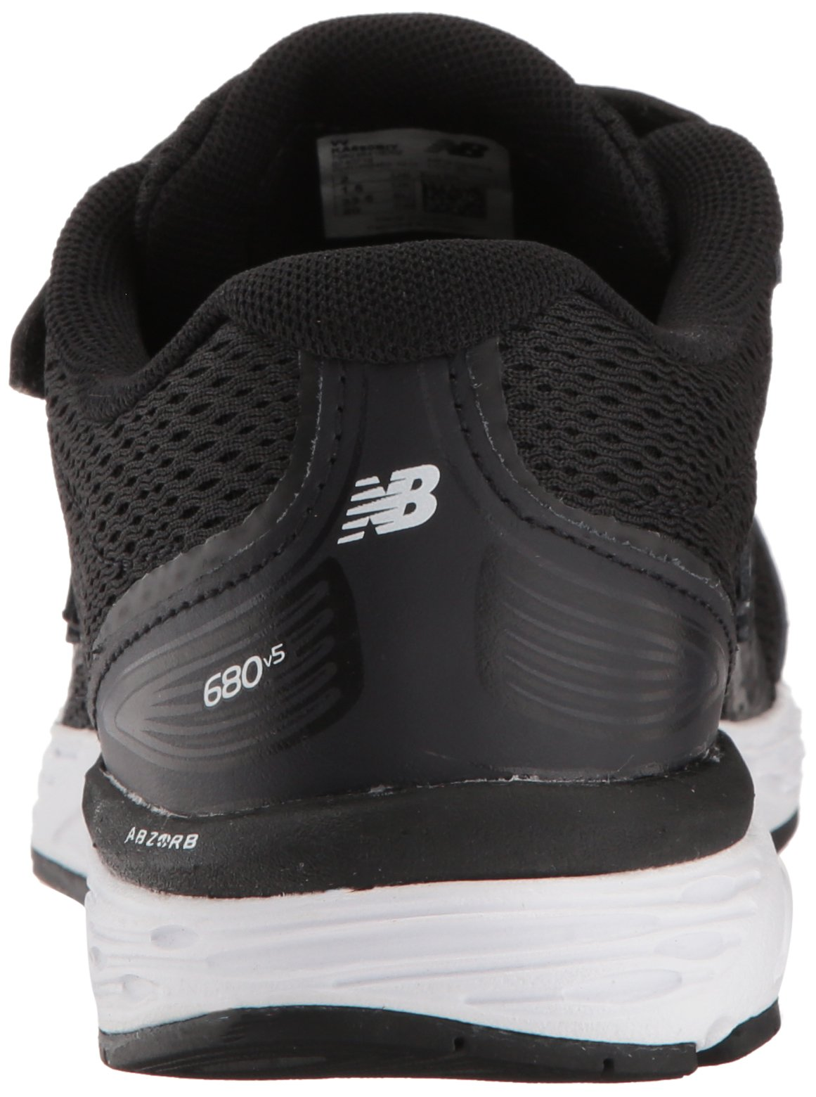 New Balance Boys' 680v5 Hook and Loop Running Shoe, Black/White, 9 M US Toddler by New Balance (Image #2)
