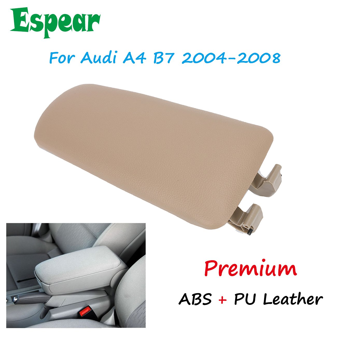 Black Armrest Center Box Console Lid Cover for 2004-2008 Audi A4 B7 ESPEAR