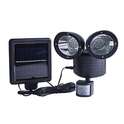 techken solar security light dual head solar motion sensor 22 led