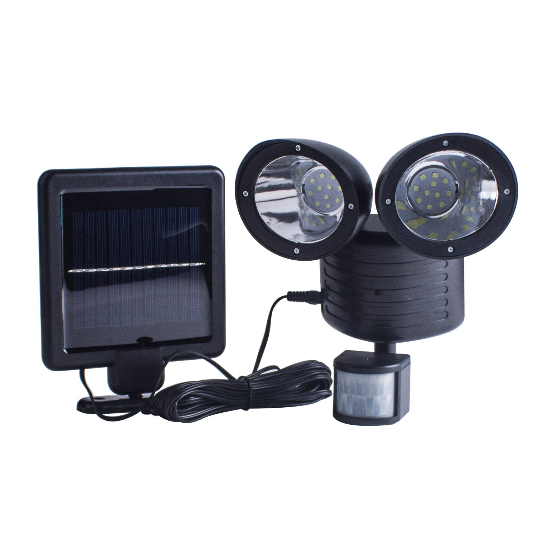 TechKen Solar Lights Outdoor Security Light Dual Head Solar Motion Sensor 22 LED Waterproof Outdoor Lamp Light Bright White Garden Light (Adjustable) (Black)