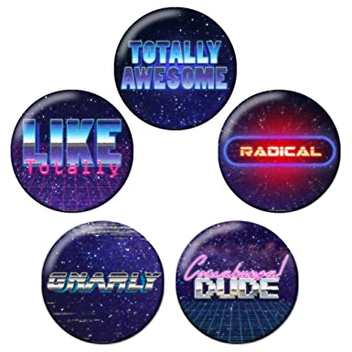 Amazon com: Retro 80s Synthwave Pinback Button Badge Set Bundle