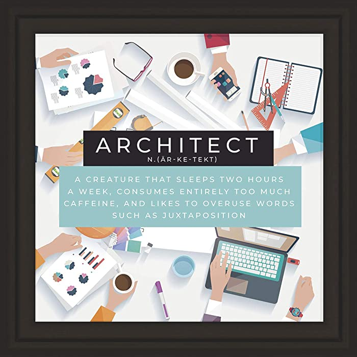 Architect Gifts | Unique 7x7 Tile Artwork | Architecture Themed Art Print | Future Architects Gift Ideas | Ideal for Student or Graduate | Fun Present for Home, Office o Studio Decor