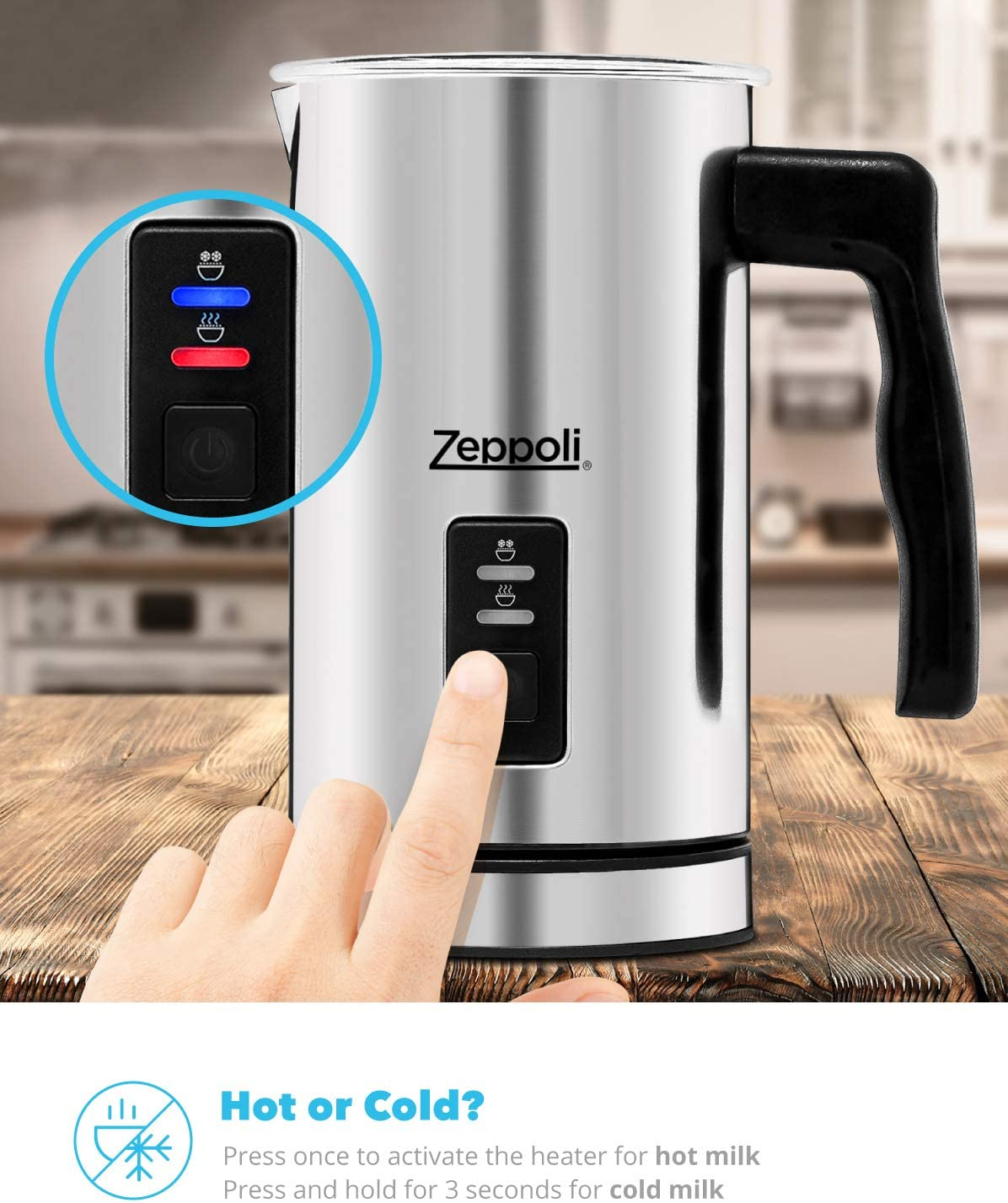 Zeppoli Milk Frother and Warmer – Automatic Milk Heater, Electric Milk Steamer and Milk Foamer Great as a Latte Frother and Cappuccino Maker for Coffee and Hot Chocolate – Comes With a Silicone Scraper