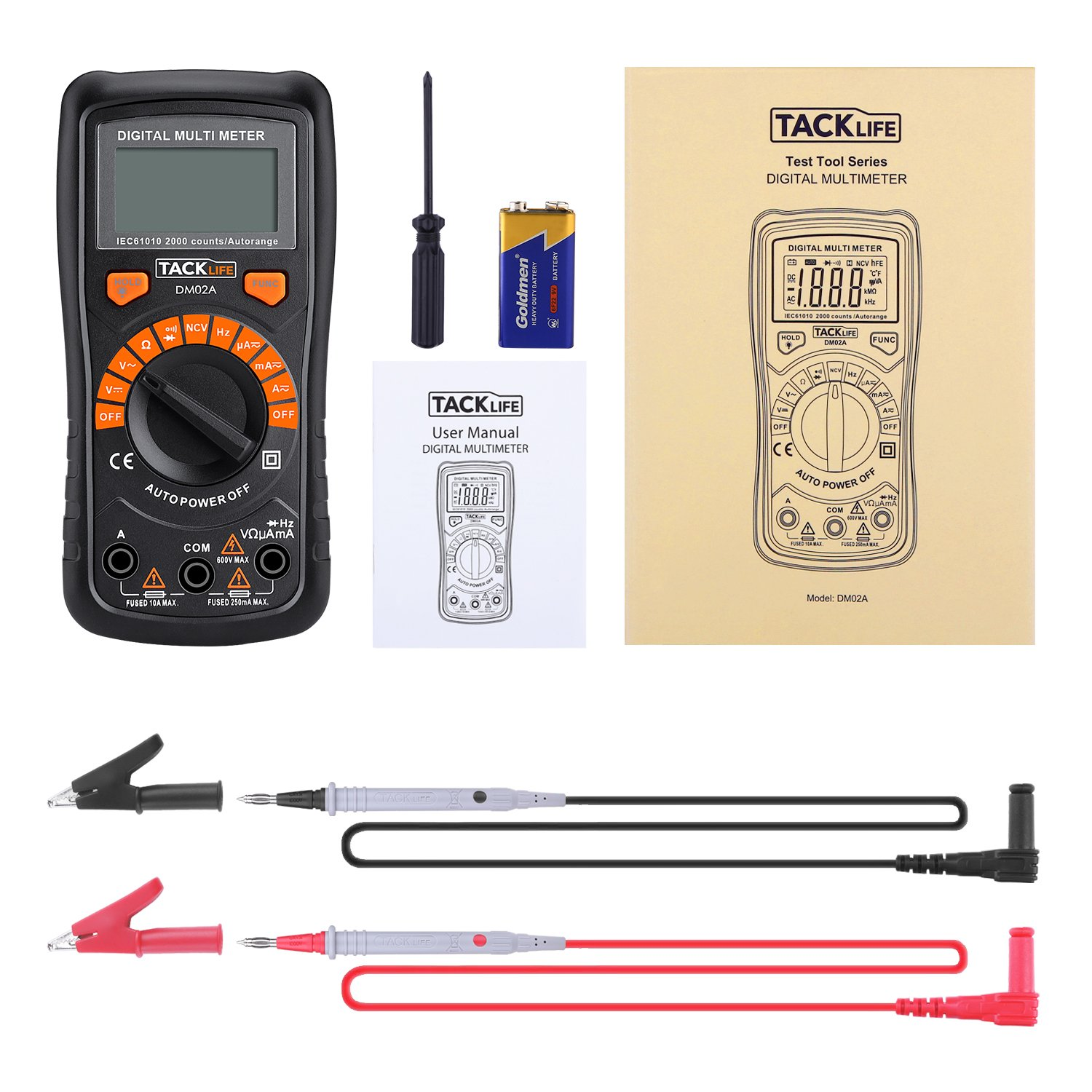 Multimeter Tacklife DM02S Auto-Ranging Digital Multimeters NCV Electrical Tester Multimeter Tester Volt Amp Ohm Diode, Continuity Test Meter LCD Backlight Measurement Tools with Screwdriver by TACKLIFE (Image #8)