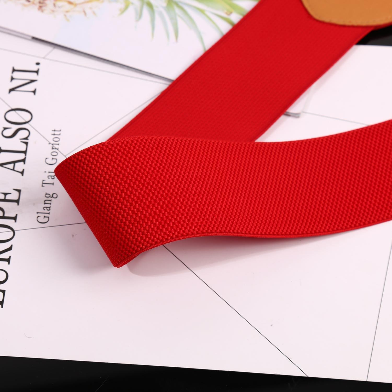 Women Elastic Belt Elegant Metal Leaf Buckle Leather Stretch Wide Waistband Red