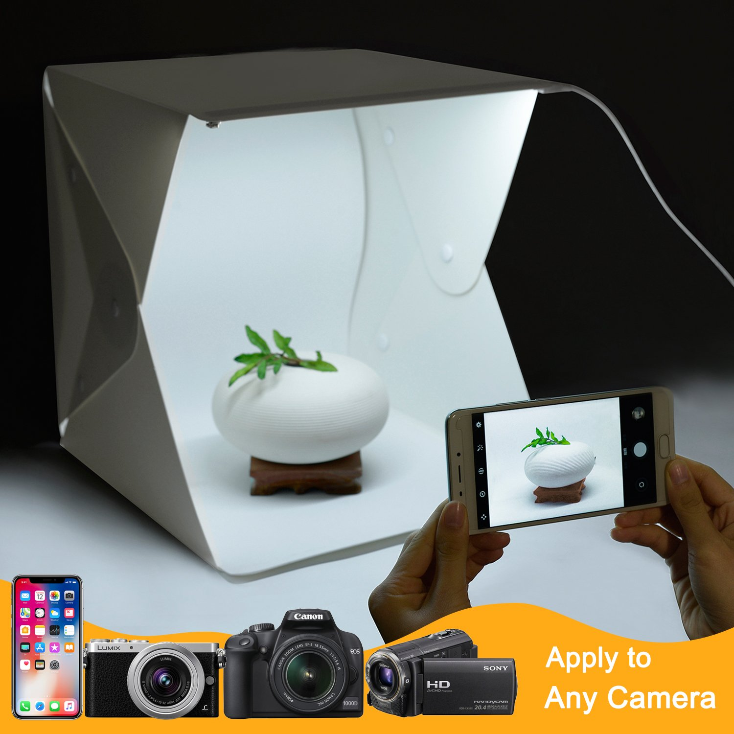 Donwell Portable Photo Studio Tent Light Box Folding Photography Shooting Kit with Adjustable LED Lights and 6 Colors Background New 2018 (Size: 9.8'' x 9.5'' x 9'') by DONWELL (Image #8)